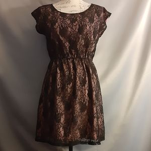 ⚠️CLEARANCEBebop Black Lace Dress with pink lining